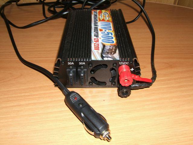 2. Спаял фишку для подключения усилителя к РНС 510.  Инвертор, коннектор в прикуриватель + черного провода 5 метров...