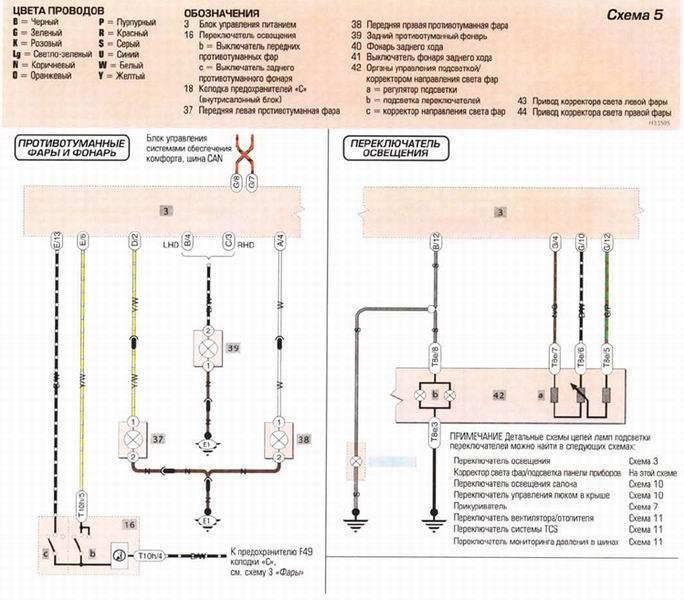 схема подключения ПТФ к блоку